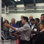Yossi draws at crowd for demos at the AuraPlayer booth